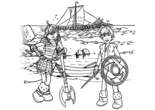 Hiccup and Astrid coloring page