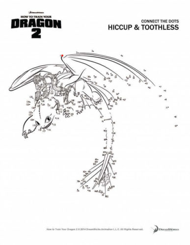 Hiccup and Toothless activity sheet