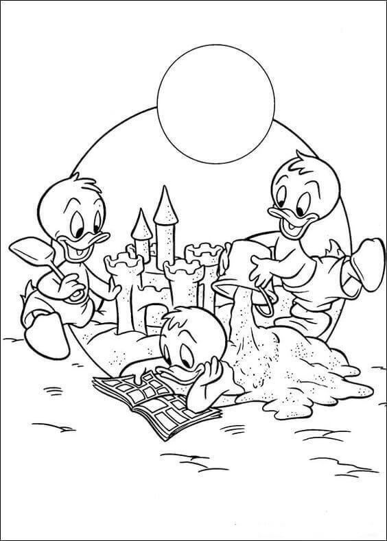 Huey Dewey and Louie coloring page