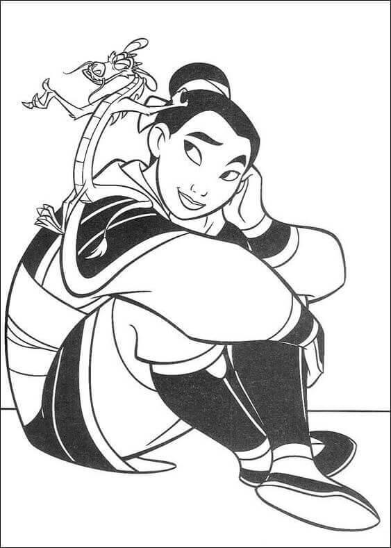Mulan coloring page