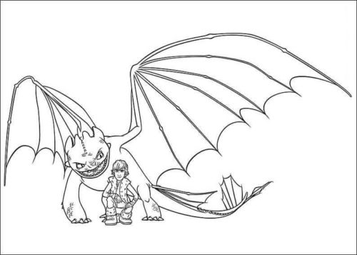 Toothless and Hiccup from How To Train Your Dragon coloring page