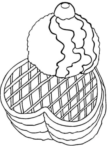 Waffle With Ice Cream Coloring Page
