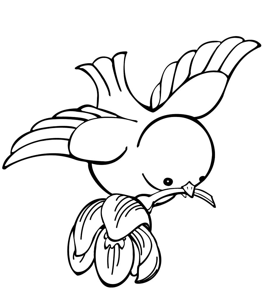 A little bird carrying a flower