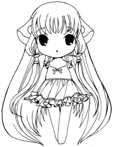 Anime baby girl coloring page