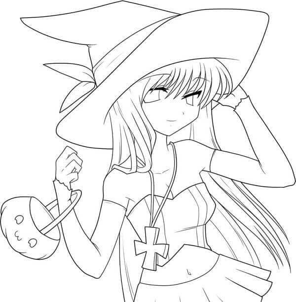 Anime girl dressed as a witch for Halloween