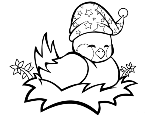 Cute bird coloring page