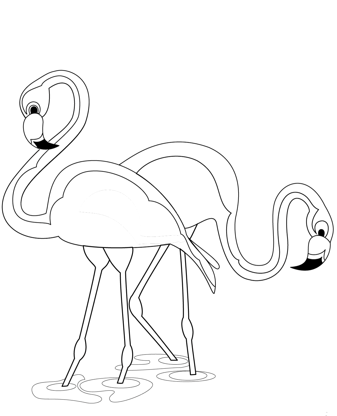 Flamingos coloring page