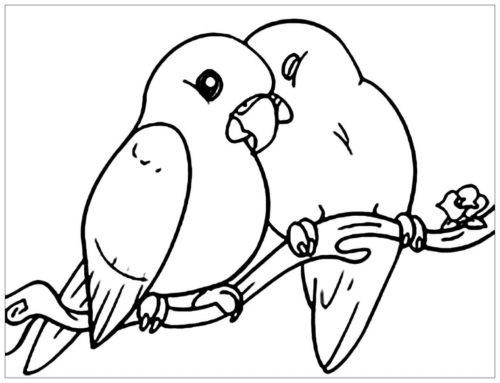 Lovebirds coloring page