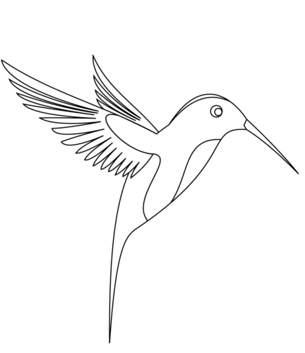 Simple hummingbird coloring page for kids