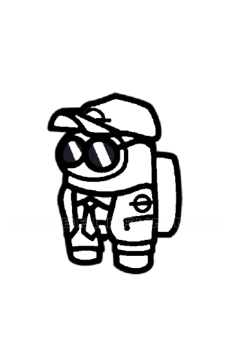 Among Us Security Guard coloring page