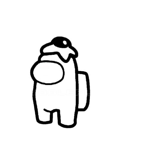 Among Us character wearing egg hat