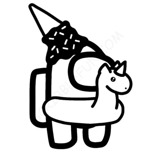 Among Us character with unicorn float