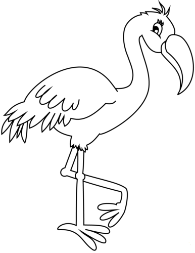 Cartoon flamingo coloring page
