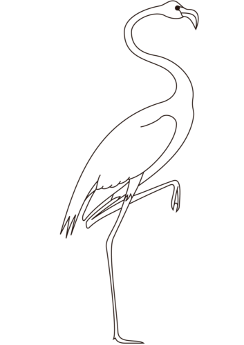 Easy flamingo coloring page