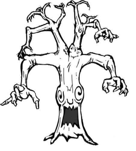 Haunted tree coloring page