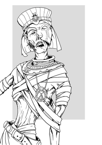 Realistic mummy coloring page