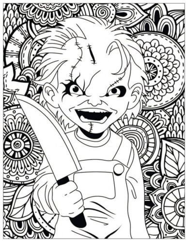 Scary Chuck coloring page