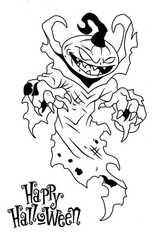 Scary Halloween coloring in