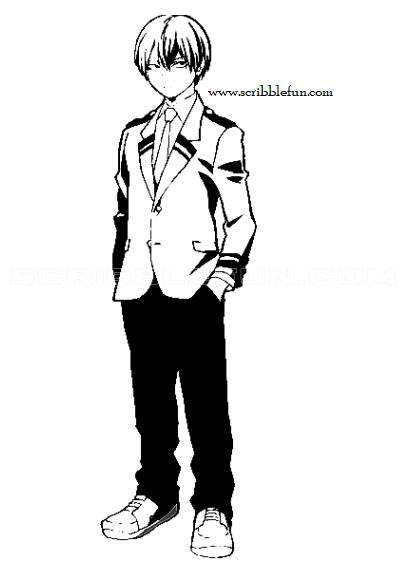 Shoto Todoroki from MHA coloring sheet