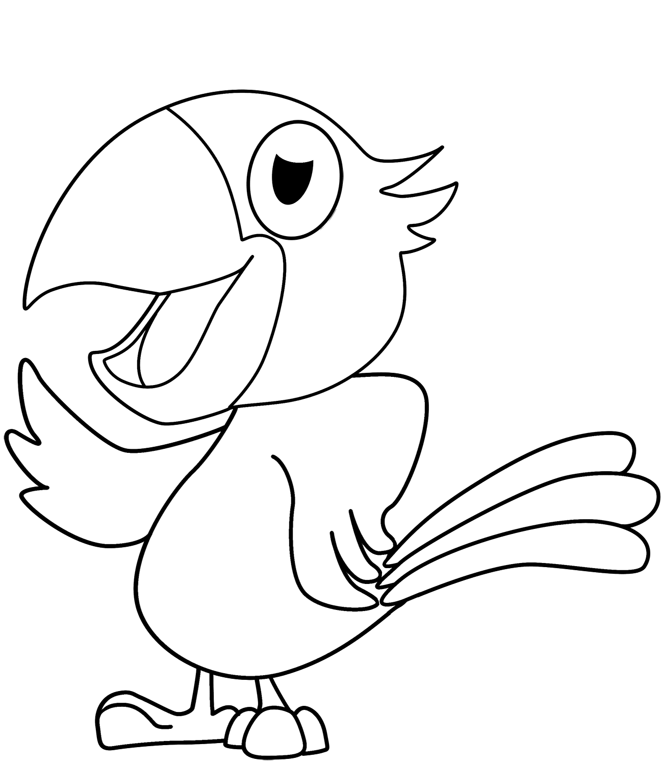 Cartoon parrot coloring page