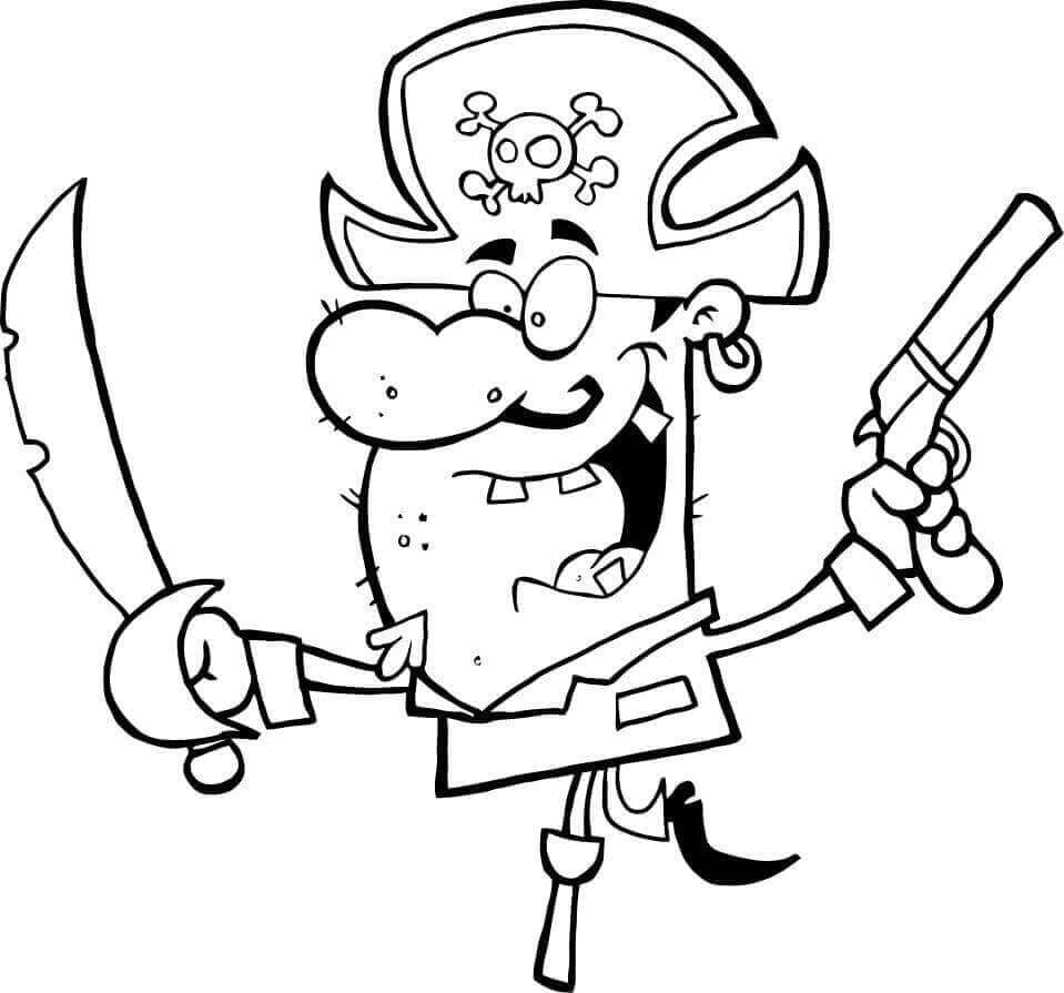 Cartoon pirate coloring page