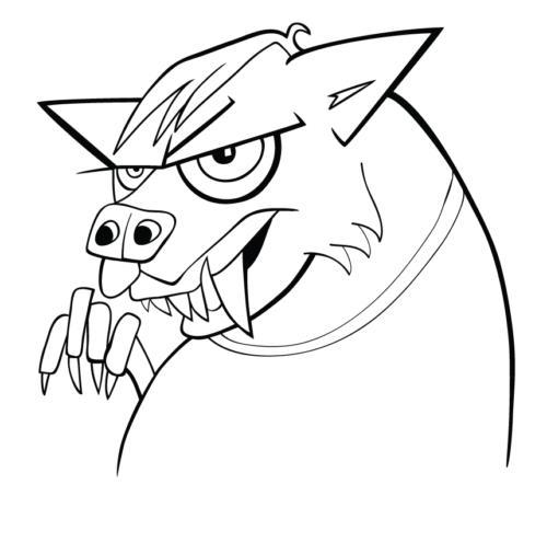 Cartoon werewolf coloring page