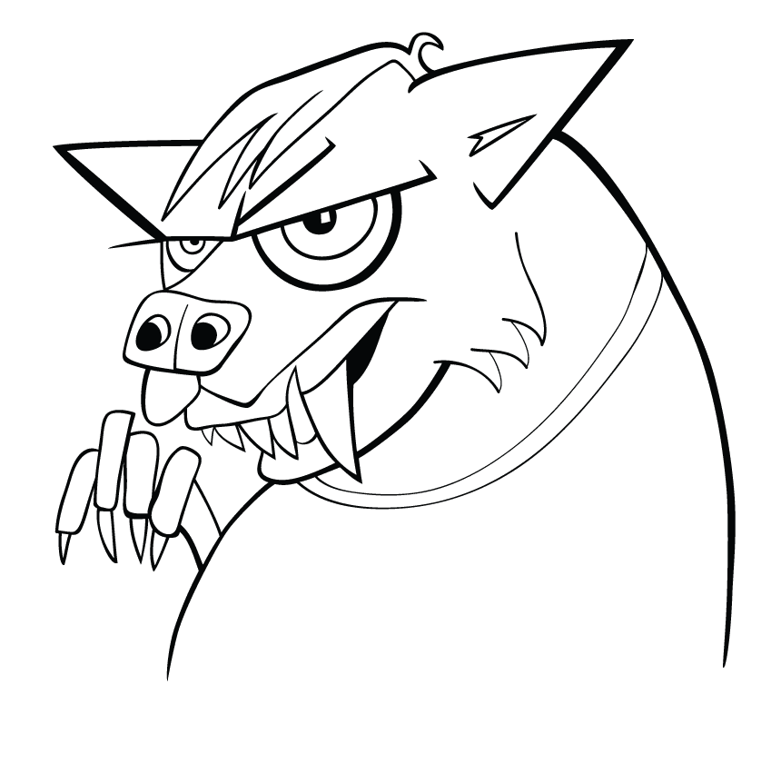 Cartoon werewolf coloring page