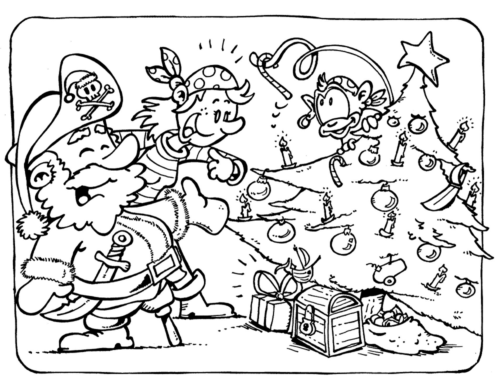 Christmas pirate coloring page