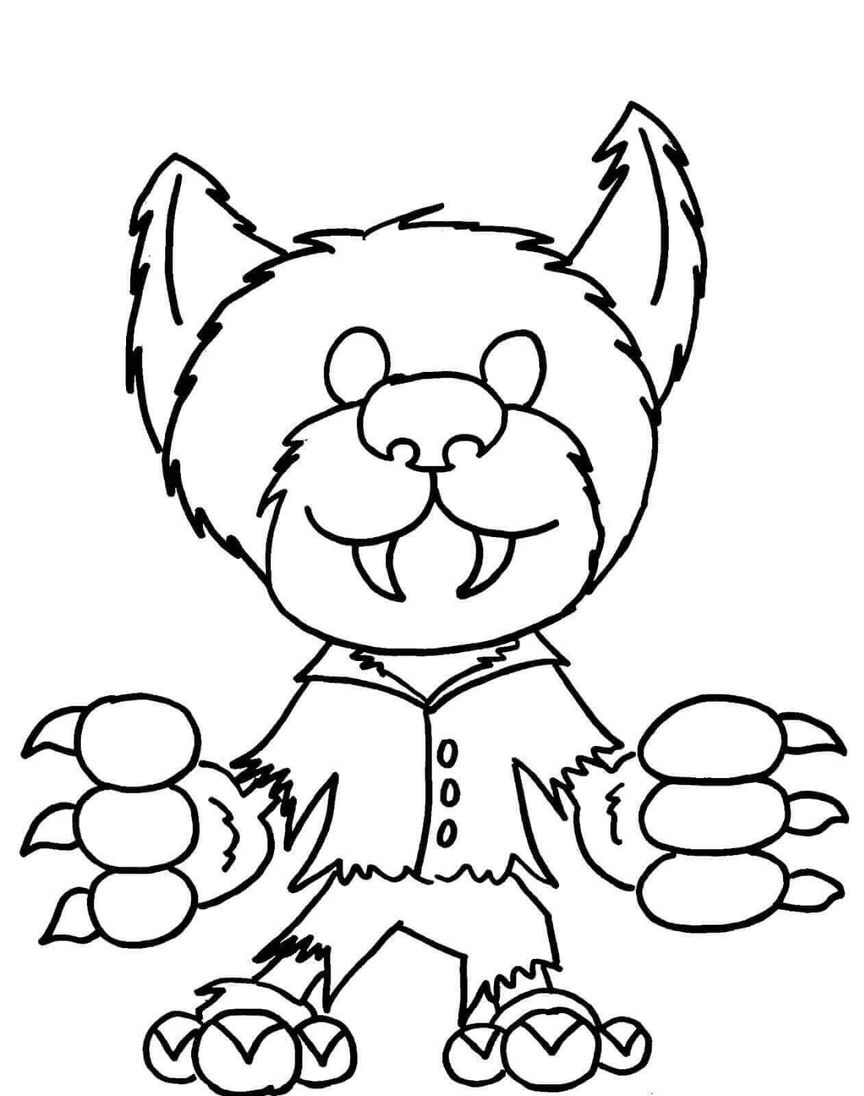 Easy werewolf coloring page for kids