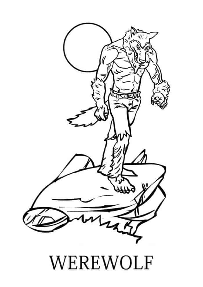 Free printable werewolf coloring pages