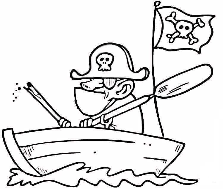 Funny pirate coloring page