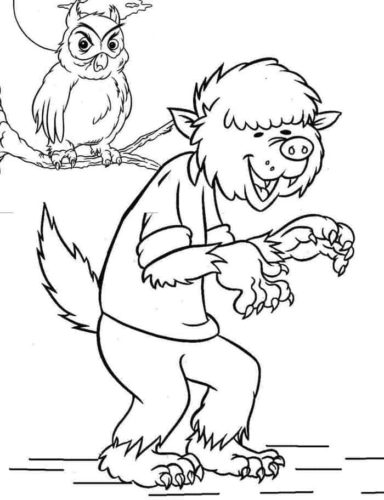 Funny werewolf coloring page