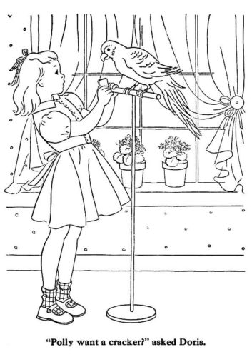 Girl with her pet parrot