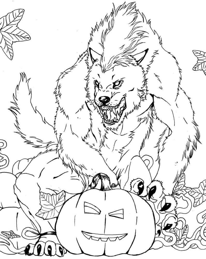 Halloween werewolf coloring pages