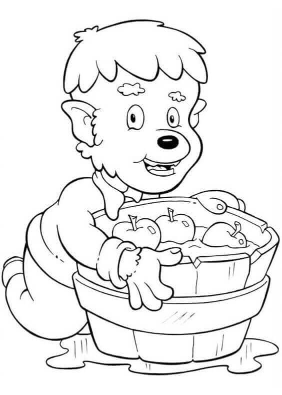 Kid werewolf with apples