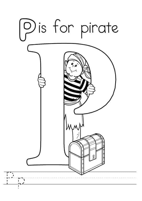 P for Pirate coloring page