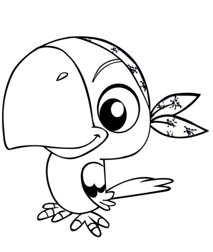 Pirate parrot coloring page 1