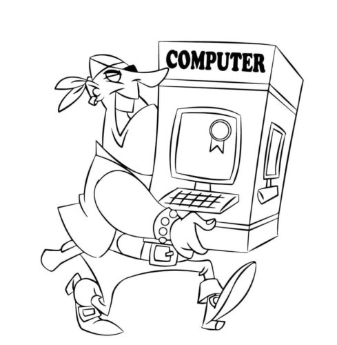 Pirate stealing a computer