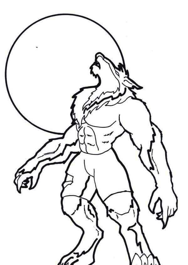 Werewolf and moon coloring page