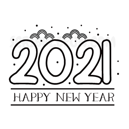 2021 New Year coloring pages