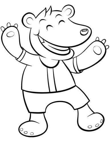 A happy cartoon bear