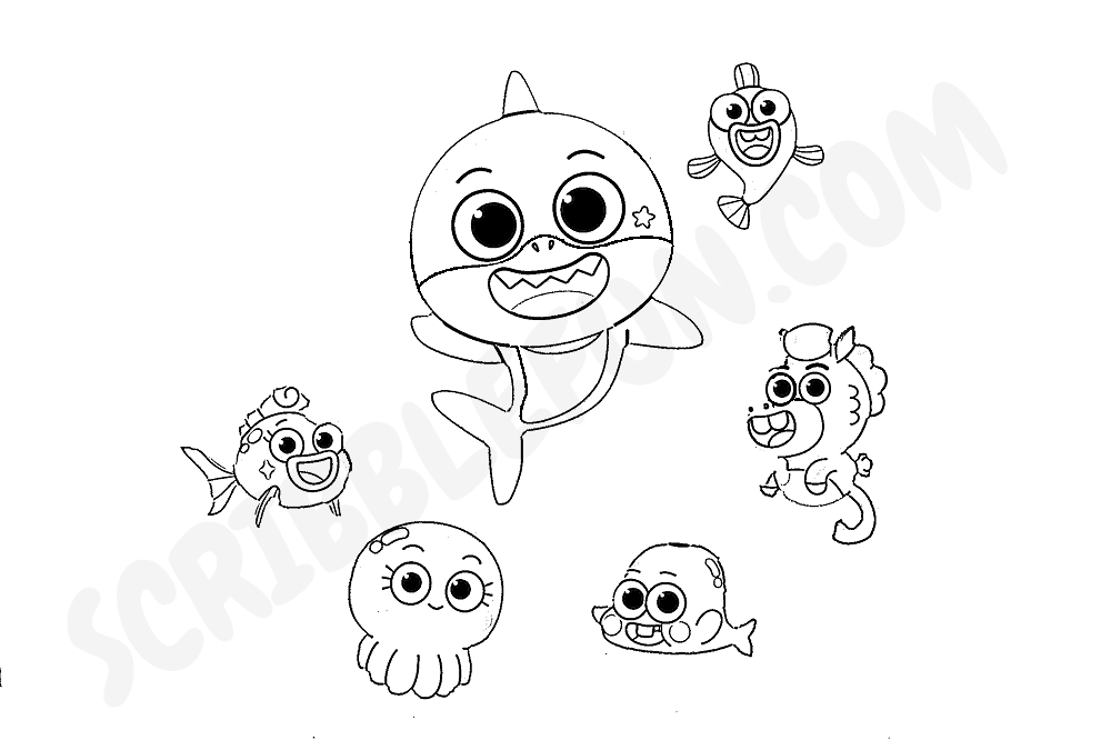 Baby Shark television series coloring page