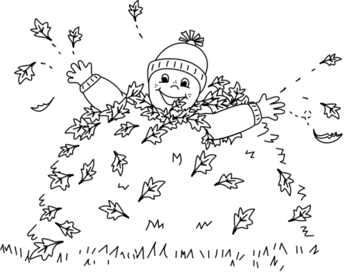 Boy jumping in leaves