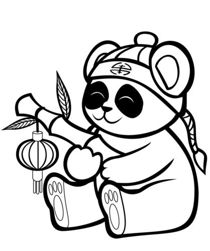 Cartoon panda bear coloring page