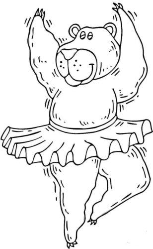 Dancing bear coloring picture