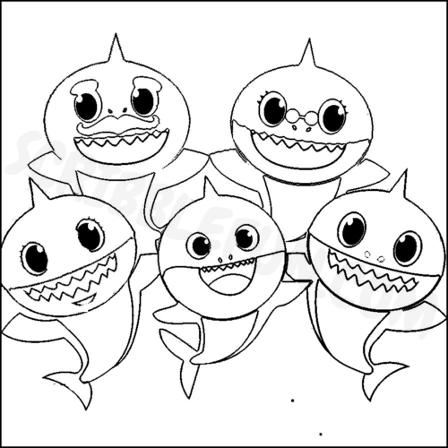 Free Printable Baby Shark coloring pages