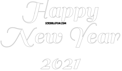 Free Printable New Year 2021 coloring page