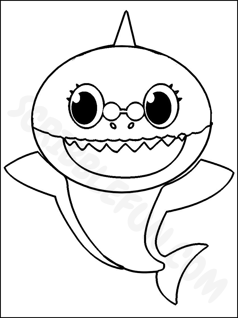 Grandma Shark coloring page