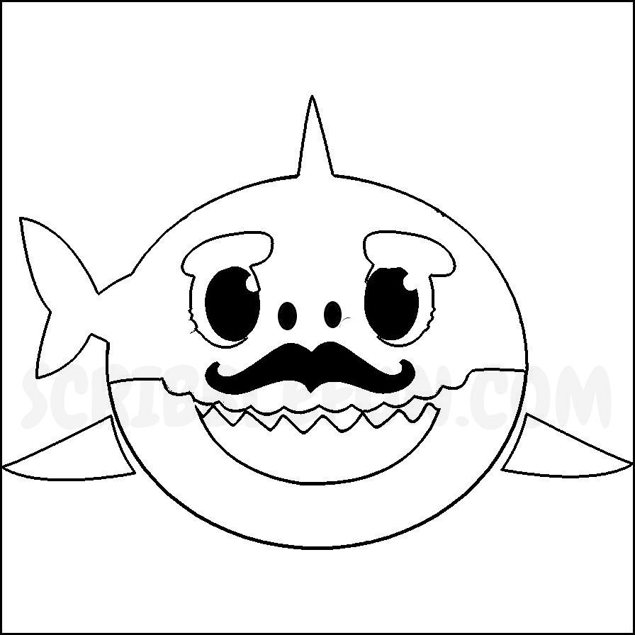 Grandpa Shark colouring page