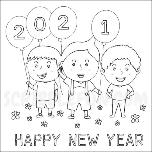 Happy New Year 2021 coloring page
